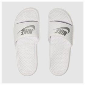 Nike White & Silver Benassi Slide Sandals