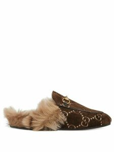 Gucci Princetown GG velvet slippers - Brown