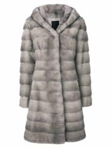 Liska Valencia hooded fur coat - Grey