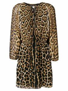 Saint Laurent leopard print short dress - Black