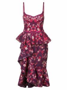 Marchesa Notte ruffle floral midi dress - PINK