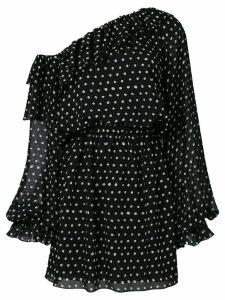 Saint Laurent polka-dot one shoulder dress - Black