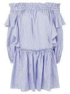 Alexander McQueen off-shoulder striped dress - Blue