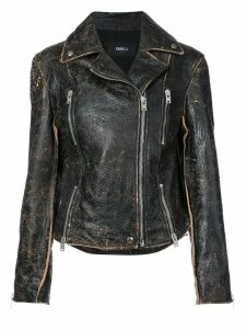 Yang Li faded finish biker jacket - Black