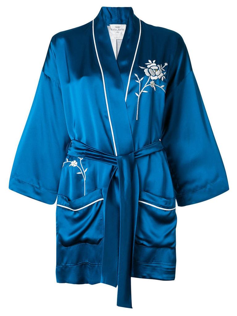 Forte Forte embroidered belted jacket - Blue