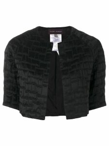 Talbot Runhof cropped textured jacket - Black