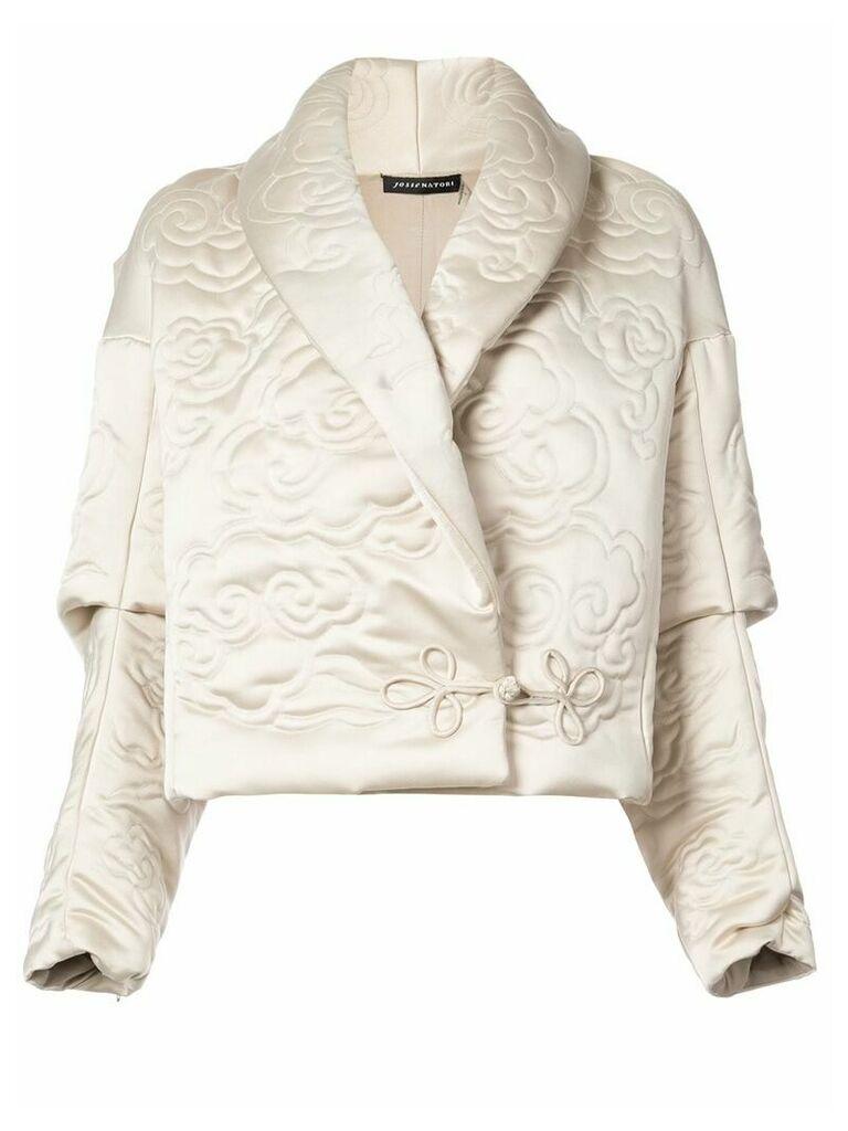 Josie Natori shawl collar embossed jacket - Nude & Neutrals