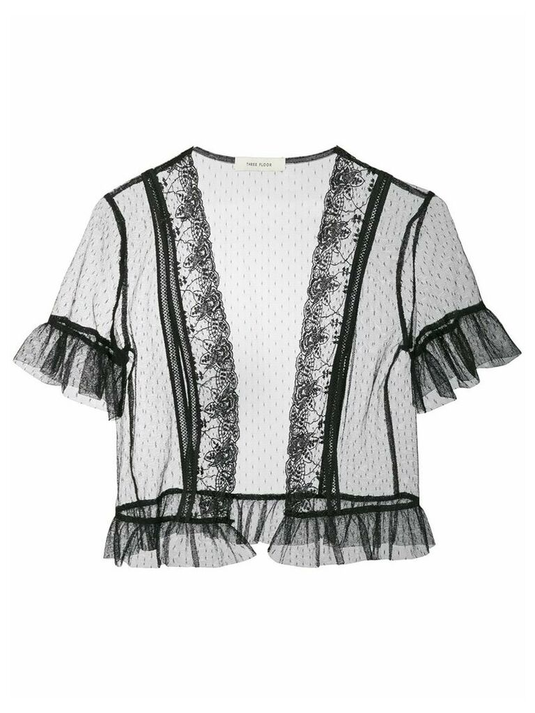 Three Floor Willow lace trim tulle jacket - Black