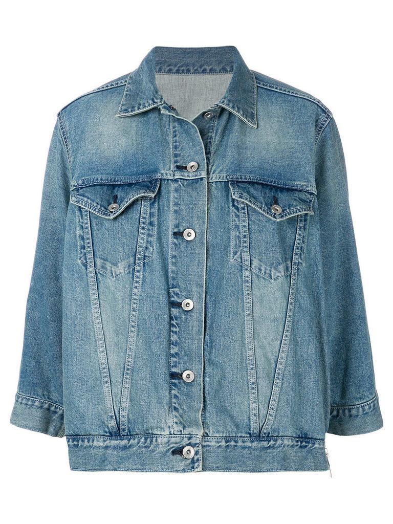 Sacai zipped peplum denim jacket - Blue