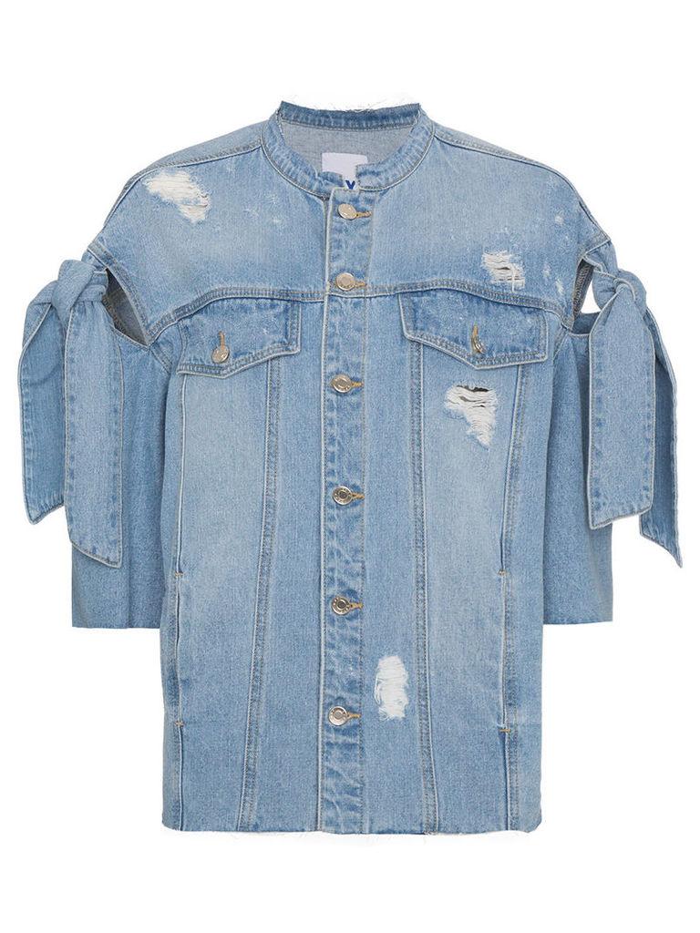 SJYP distressed ribbon sleeve denim jacket - Blue