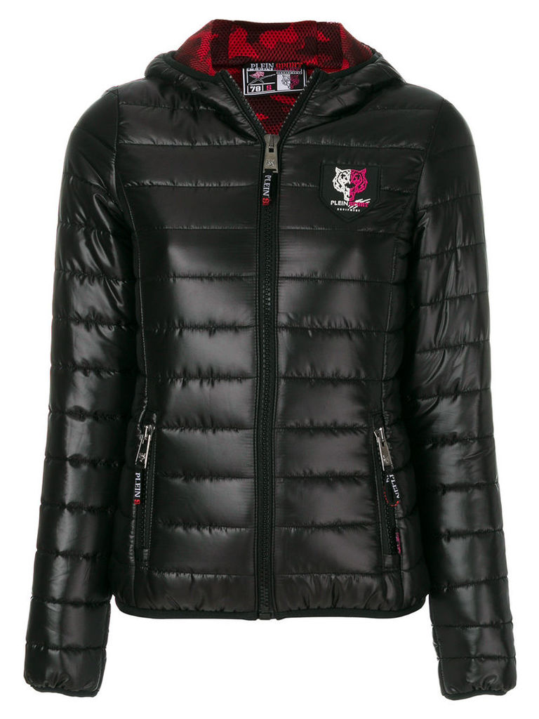 Plein Sport quilted hooded jacket - Black