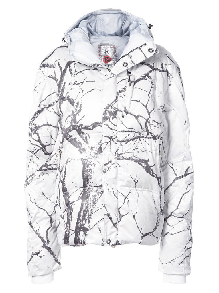 Kru tree print jacket - White