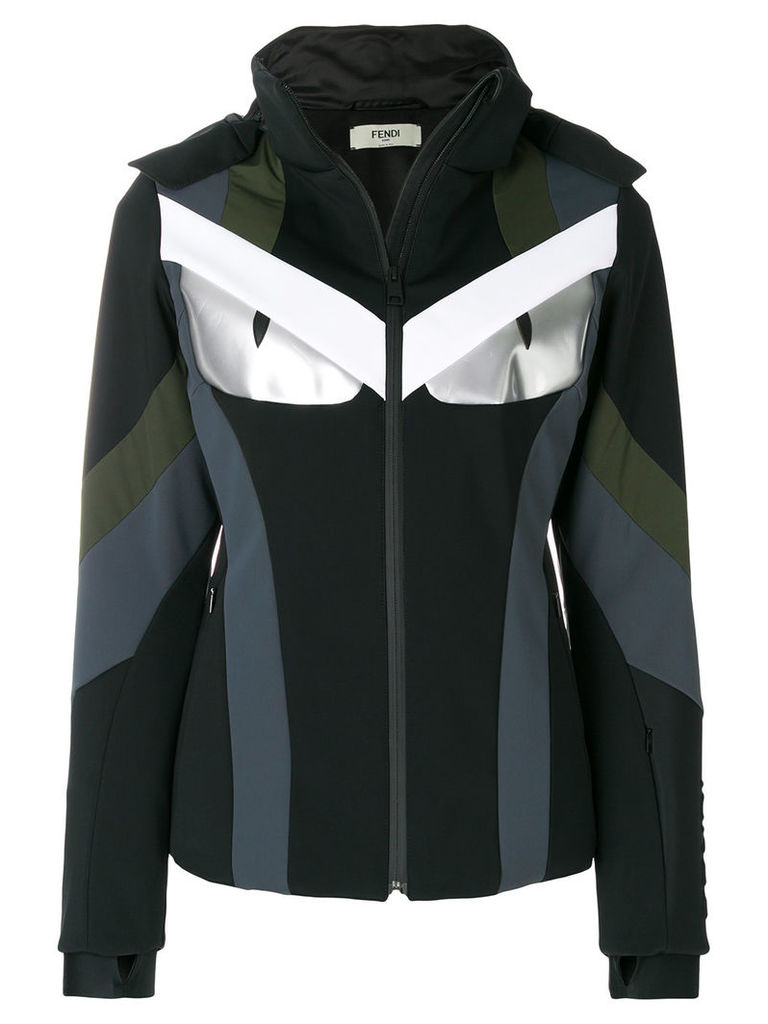 Fendi colour-block fitted jacket - Black