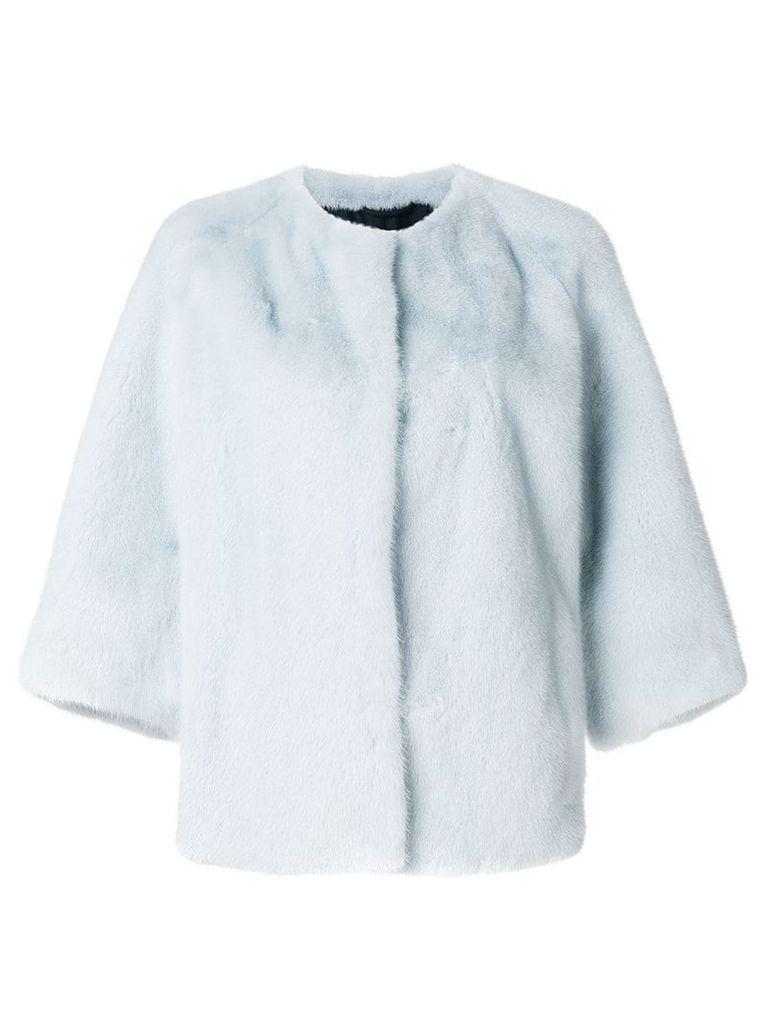 Yves Salomon mink fur cropped sleeve jacket - Blue