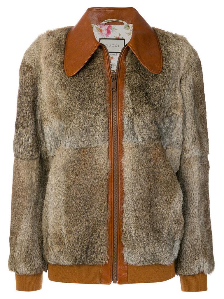 Gucci fur bomber jacket - Brown