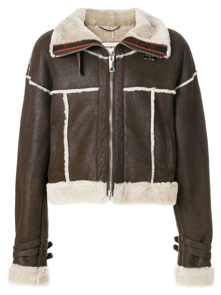 Misbhv cropped aviator jacket - Brown