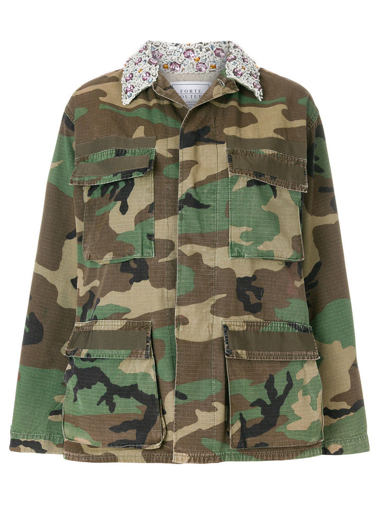 Forte Dei Marmi Couture embellished camouflage military jacket - Green