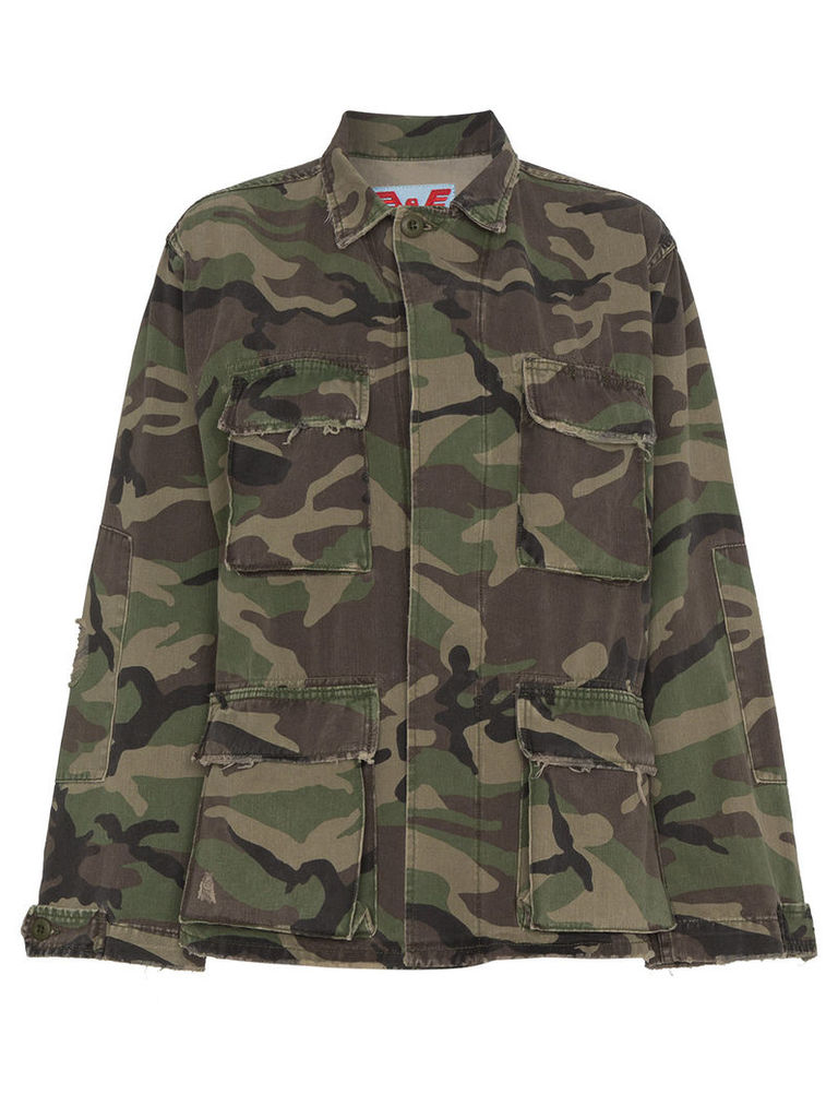 Adaptation Embroidered Camouflage cotton jacket - Green