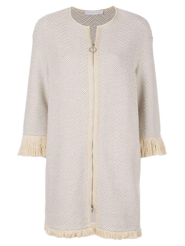 Fabiana Filippi fringed longline jacket - Nude & Neutrals