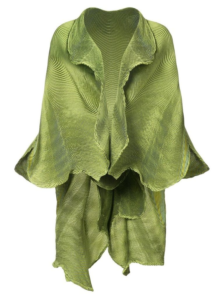 Issey Miyake frilled shawl jacket - Green