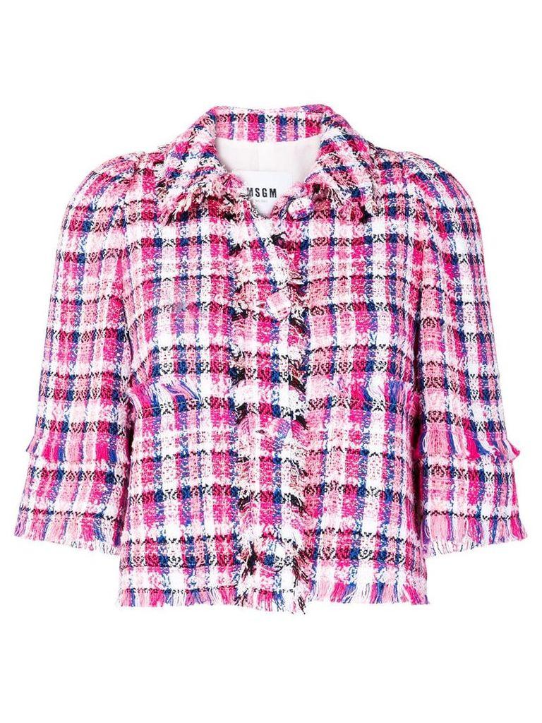 MSGM fringe-trim check tweed jacket - Pink & Purple