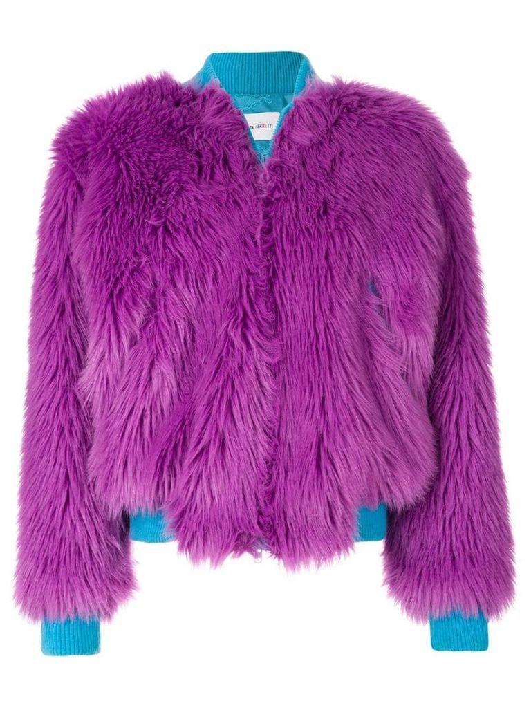 Alberta Ferretti faux fur bomber jacket - Pink & Purple
