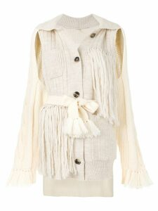 Maison Margiela deconstructed fringed cardigan - Neutrals