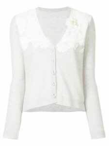 Onefifteen floral lace patch V-neck cardigan - Grey