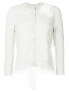 Onefifteen floral lace patch buttoned cardigan - Grey