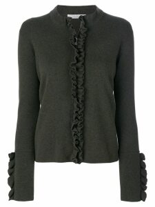 D.Exterior ruffled detailed zipped cardigan - Brown