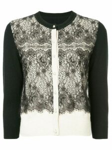 Onefifteen lace panel buttoned cardigan - Black