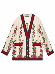 Gucci Rose Garden print silk cardigan - Pink