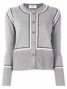 Thom Browne intarsia stripe cardigan - Grey