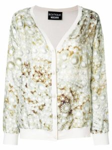 Boutique Moschino pearl print cardigan - Neutrals