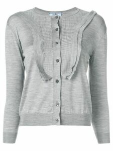 Prada ruffle-trimmed cardigan - Grey