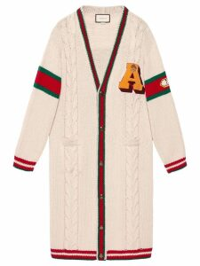 Gucci Embroidered chunky cable knit cardigan - White