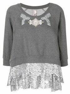 Antonio Marras embellished lace trim sweater - Grey