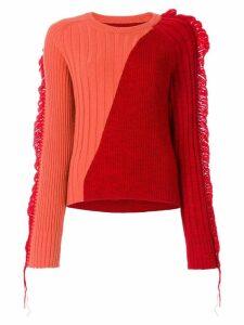 Maison Margiela bicolour fringed rib knit sweater - Red