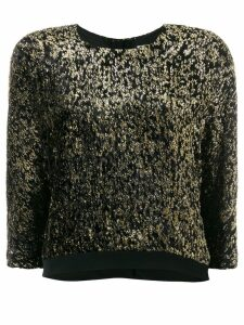 LANVIN metallic cropped jumper - Black