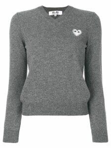 Comme Des Garçons Play knitted heart logo sweater - Grey