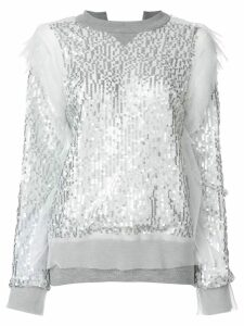 Sacai sequin embroidered sweatshirt - Grey