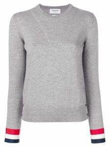 Thom Browne Grosgrain-Cuffed Fine Merino Wool Crewneck Pullover - Grey
