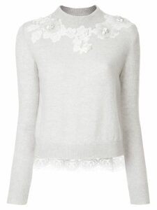 Onefifteen floral lace patch sweater - Grey