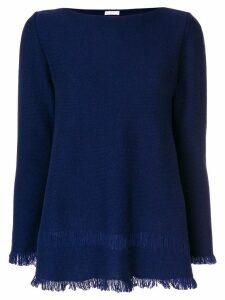 Borgo Asolo cashmere flared fringe hem sweater - Blue