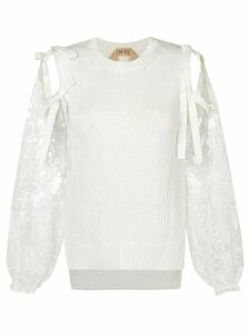 Nº21 self-tie lace sleeve top - White