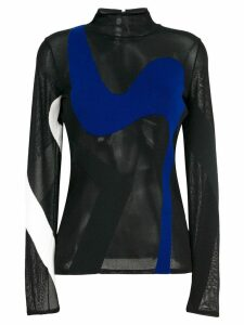 Proenza Schouler colour-block sheer knitted top - Black