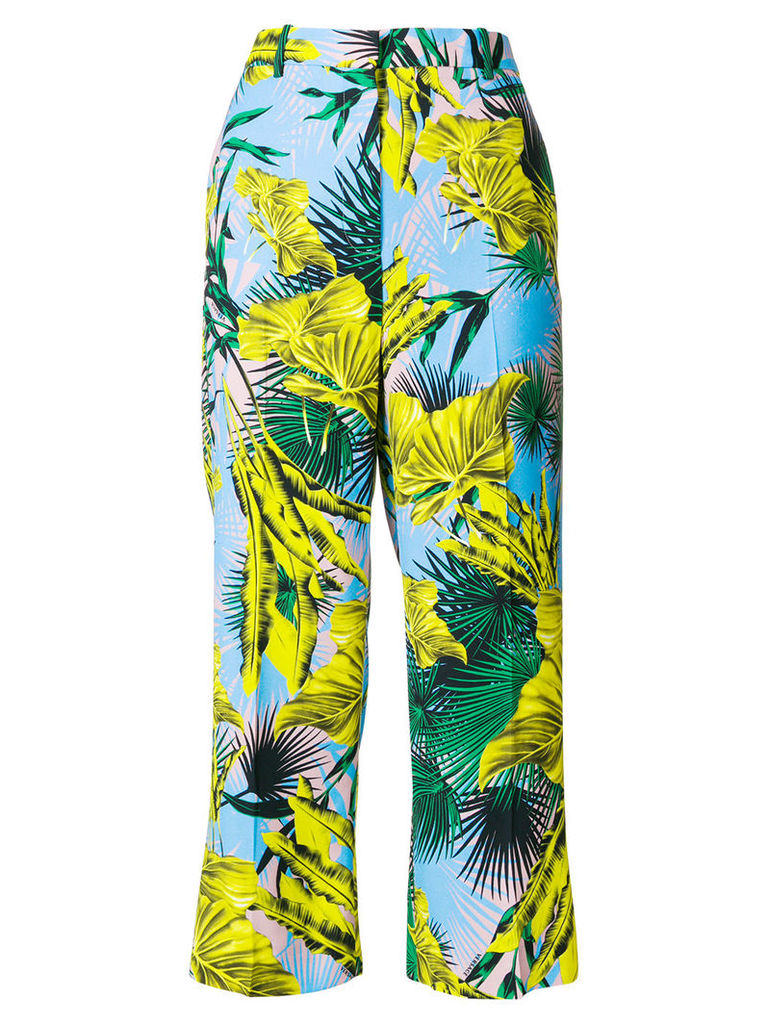 Versace palm print cropped trousers - Multicolour