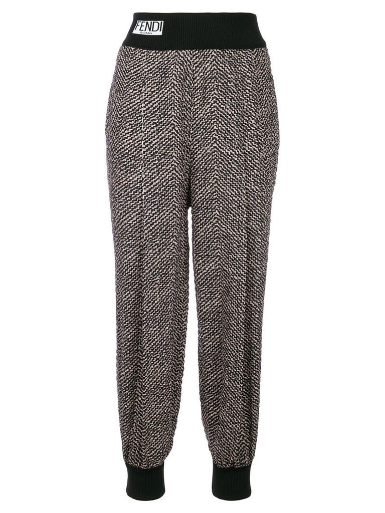 Fendi embroidered track trousers - Black
