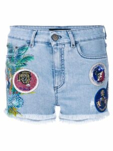 Mr & Mrs Italy patched denim shorts - Blue