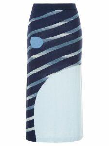 Onefifteen striped knitted skirt - Blue